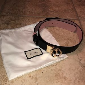 Accessories - Gucci Belt Reversible Black and Mauve